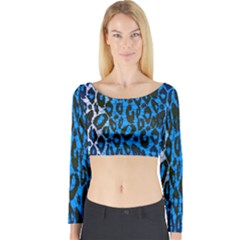 Florescent Blue Cheetah  Long Sleeve Crop Top (tight Fit)