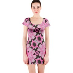 Powder Pink Black Abstract  Short Sleeve Bodycon Dress