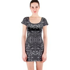 Trippy Black&white Abstract  Short Sleeve Bodycon Dress