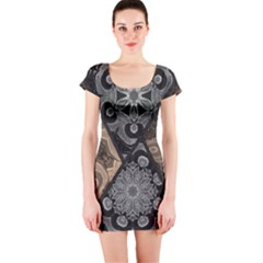 Crazy Beautiful Black Brown Abstract  Short Sleeve Bodycon Dress