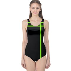 Black Line Stripes One Piece Swimsuit