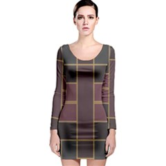 Vertical and horizontal rectangles Long Sleeve Bodycon Dress