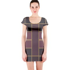 Vertical and horizontal rectangles Short sleeve Bodycon dress
