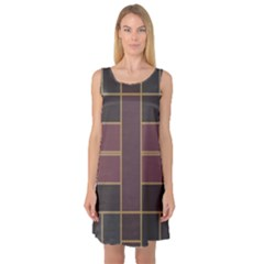 Vertical And Horizontal Rectangles Sleeveless Satin Nightdress
