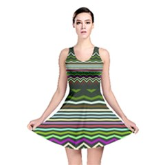 Chevrons and distorted stripes Reversible Skater Dress