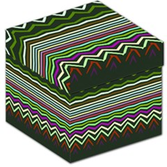 Chevrons And Distorted Stripes Storage Stool