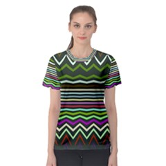Chevrons and distorted stripes Women s Sport Mesh Tee
