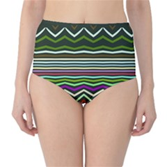 Chevrons and distorted stripes High-Waist Bikini Bottoms