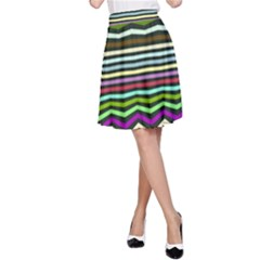 Chevrons And Distorted Stripes A Line Skirt