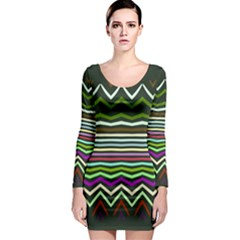 Chevrons and distorted stripes Long Sleeve Bodycon Dress