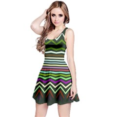 Chevrons and distorted stripes Sleeveless Dress