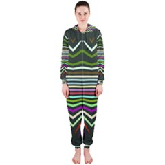 Chevrons And Distorted Stripes Hooded Onepiece Jumpsuit
