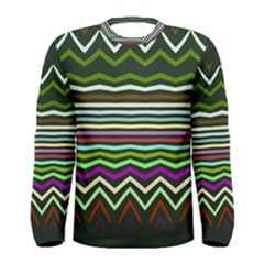 Chevrons And Distorted Stripes Men Long Sleeve T Shirt