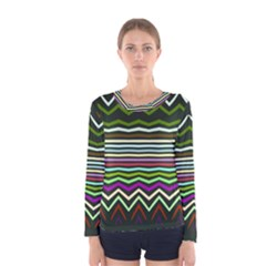 Chevrons and distorted stripes Women Long Sleeve T-shirt