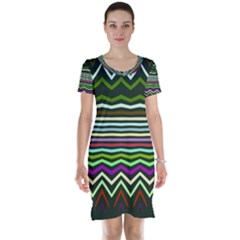 Chevrons And Distorted Stripes Short Sleeve Nightdress