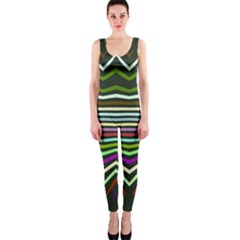 Chevrons and distorted stripes OnePiece Catsuit