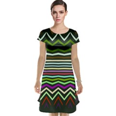 Chevrons and distorted stripes Cap Sleeve Nightdress