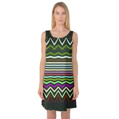 Chevrons and distorted stripes Sleeveless Satin Nightdress