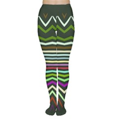 Chevrons and distorted stripes Tights