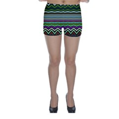 Chevrons And Distorted Stripes Skinny Shorts