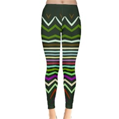Chevrons And Distorted Stripes Winter Leggings
