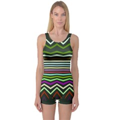 Chevrons and distorted stripes Women s Boyleg One Piece Swimsuit