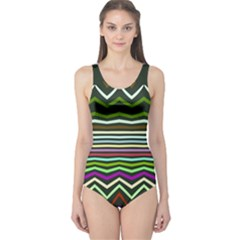 Chevrons and distorted stripes Women s One Piece Swimsuit