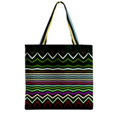 Chevrons And Distorted Stripes Grocery Tote Bag