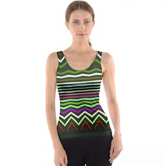 Chevrons And Distorted Stripes Tank Top