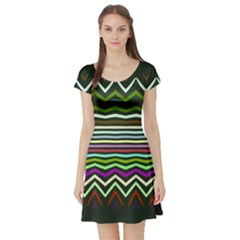 Chevrons And Distorted Stripes Short Sleeve Skater Dress