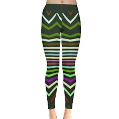 Chevrons And Distorted Stripes Leggings