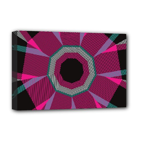 Striped Hole Deluxe Canvas 18  X 12  (stretched)