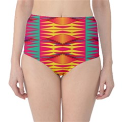 Colorful tribal texture High-Waist Bikini Bottoms