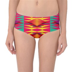Colorful Tribal Texture Mid Waist Bikini Bottoms