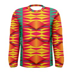 Colorful Tribal Texture Men Long Sleeve T Shirt