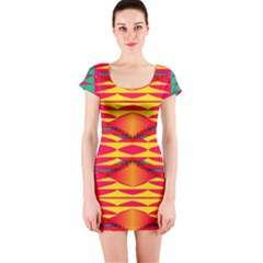 Colorful tribal texture Short sleeve Bodycon dress