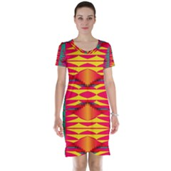 Colorful tribal texture Short Sleeve Nightdress