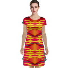 Colorful Tribal Texture Cap Sleeve Nightdress