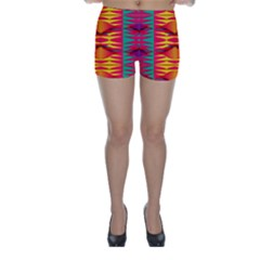 Colorful Tribal Texture Skinny Shorts