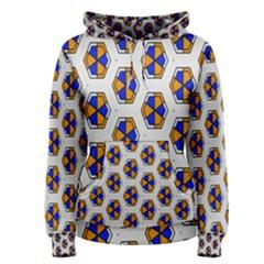 Orange blue honeycomb pattern Pullover Hoodie