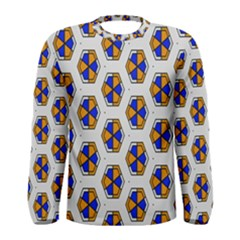 Orange blue honeycomb pattern Men Long Sleeve T-shirt