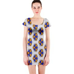 Orange blue honeycomb pattern Short sleeve Bodycon dress