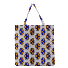 Orange blue honeycomb pattern Grocery Tote Bag