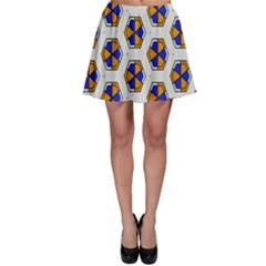 Orange blue honeycomb patternSkater Skirt