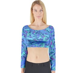 Blue Confetti Storm Long Sleeve Crop Top (Tight Fit)