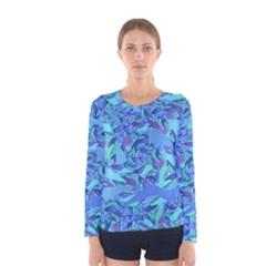Blue Confetti Storm Women s Long Sleeve T Shirt