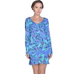Blue Confetti Storm Long Sleeve Nightdress