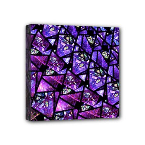 Blue Purple Glass Mini Canvas 4  X 4  (framed)