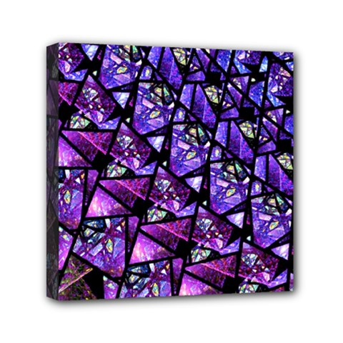 Blue Purple Glass Mini Canvas 6  X 6  (framed)