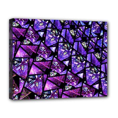 Blue Purple Glass Canvas 14  X 11  (framed)